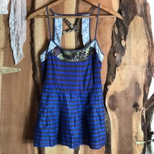 Free People Tops - FREE PEOPLE Peplum Stripe Floral Mix Cage Tank 10